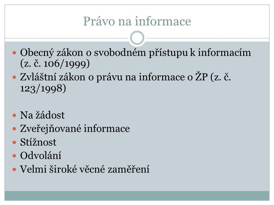 Právo na informace Obecný zákon o svobodném přístupu k informacím (z. č. 106/1999) Zvláštní zákon o právu na informace o ŽP (z. č. 123/1998)