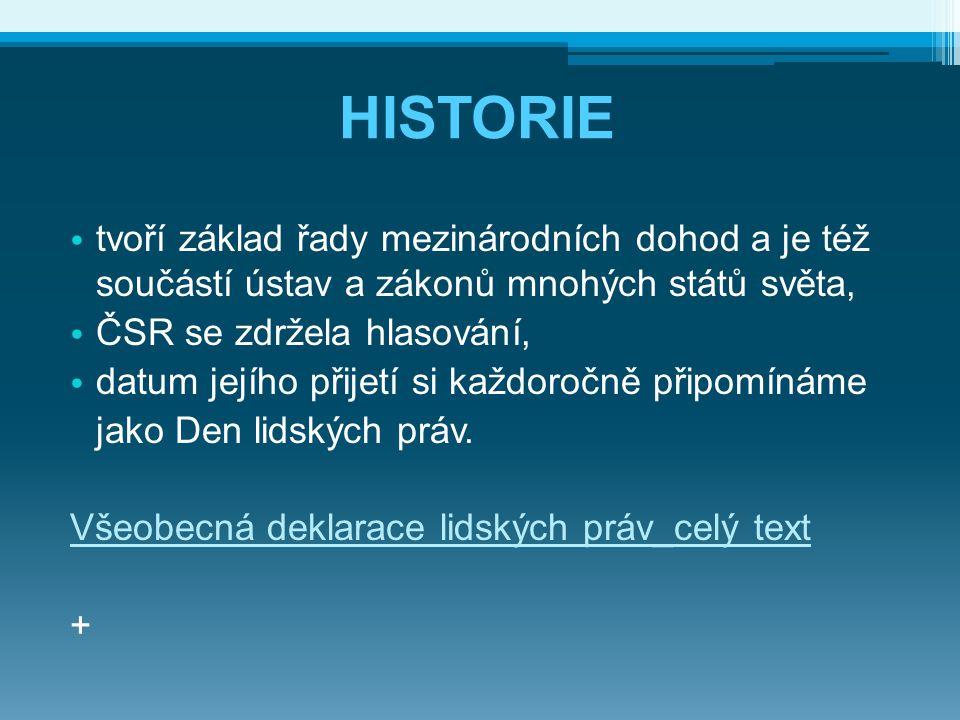 HISTORIE tvoří základ řady mezinárodních dohod a je též součástí ústav a zákonů mnohých států světa,