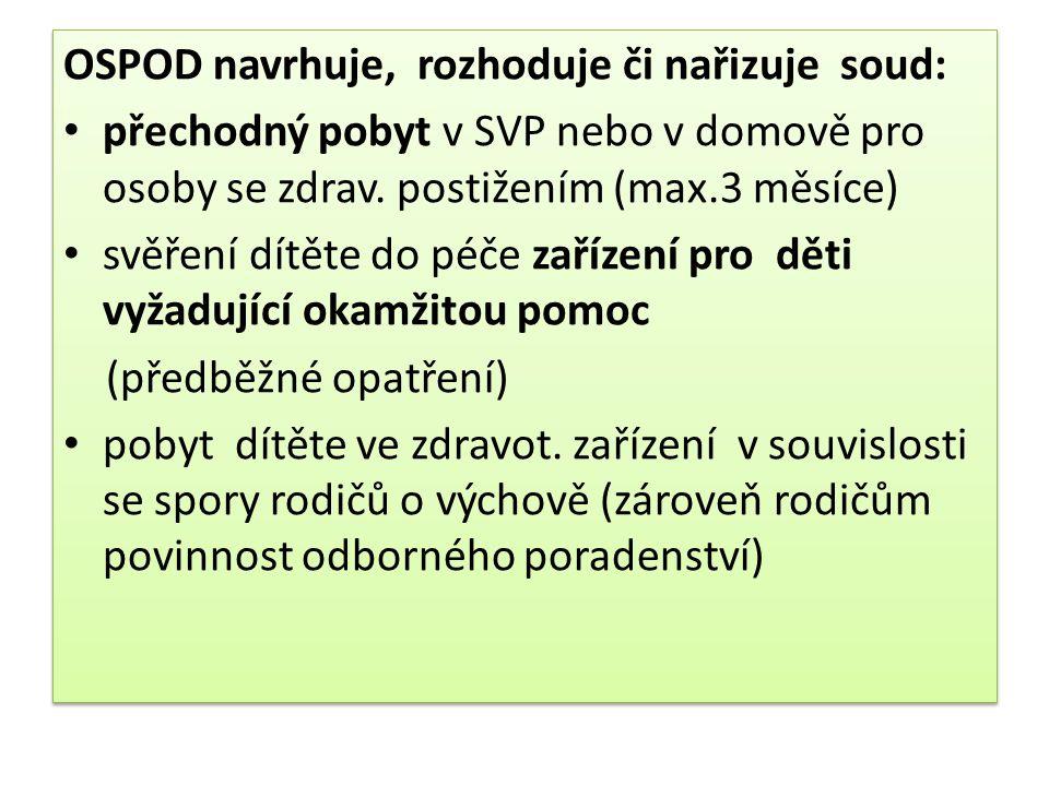 OSPOD navrhuje, rozhoduje či nařizuje soud: