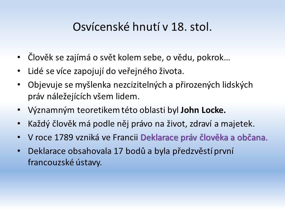 Osvícenské hnutí v 18. stol.