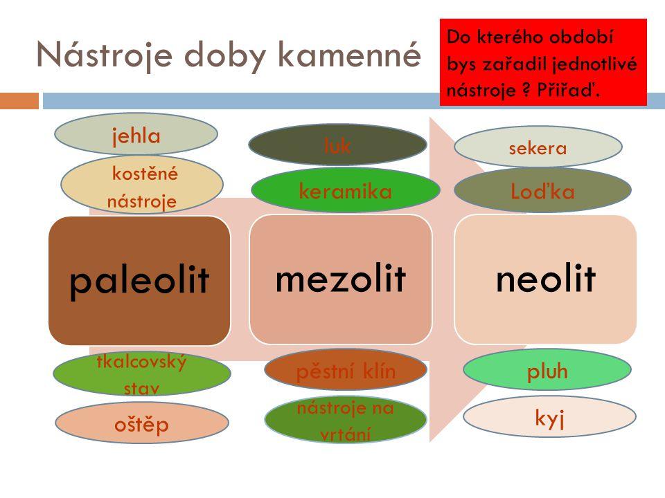 paleolit mezolit neolit Nástroje doby kamenné jehla luk