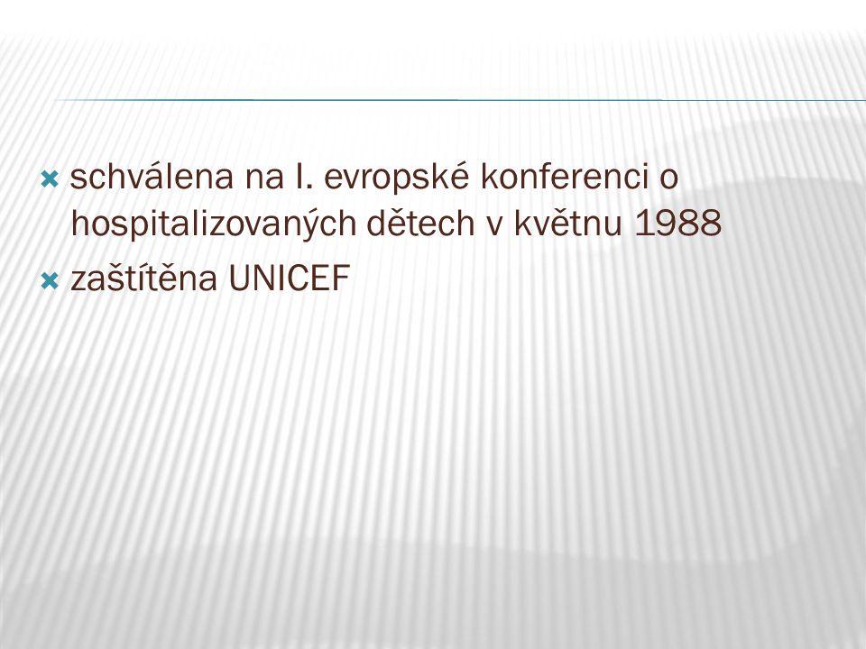 schválena na I. evropské konferenci o hospitalizovaných dětech v květnu 1988