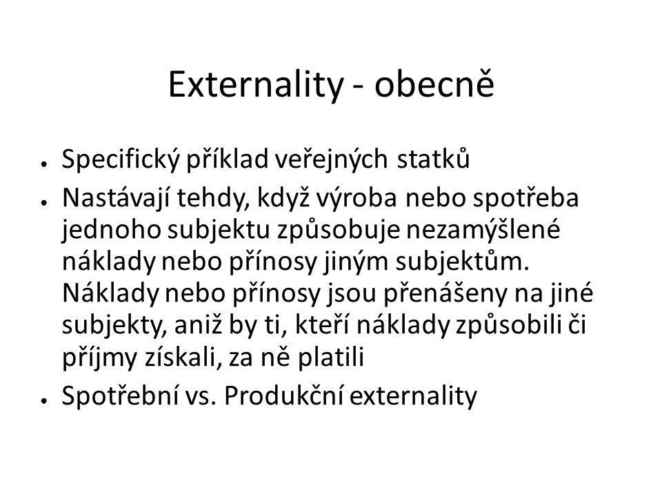 Externality - obecně Specifický příklad veřejných statků