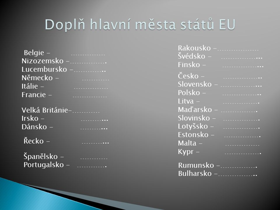 Doplň hlavní města států EU
