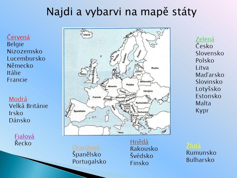 Najdi a vybarvi na mapě státy
