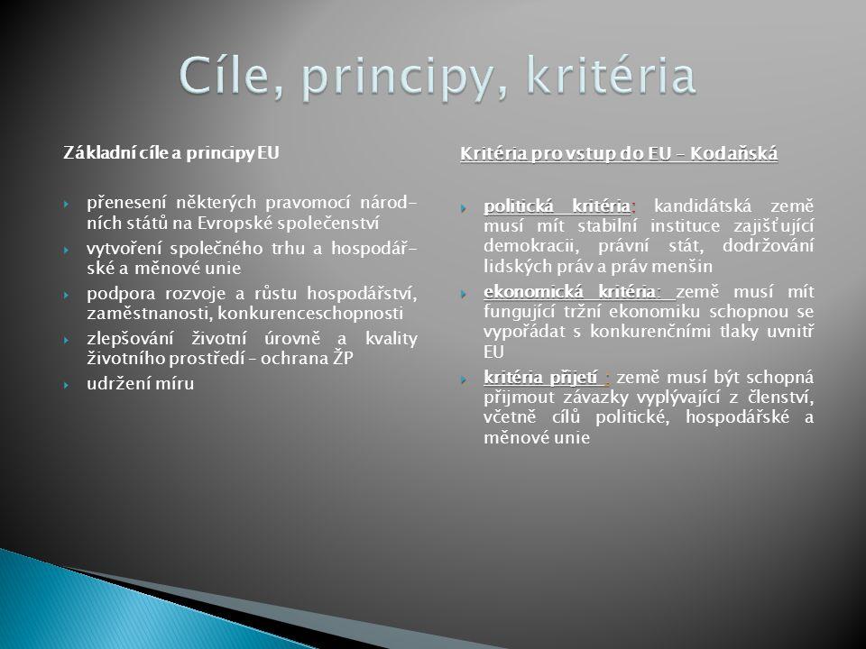 Cíle, principy, kritéria