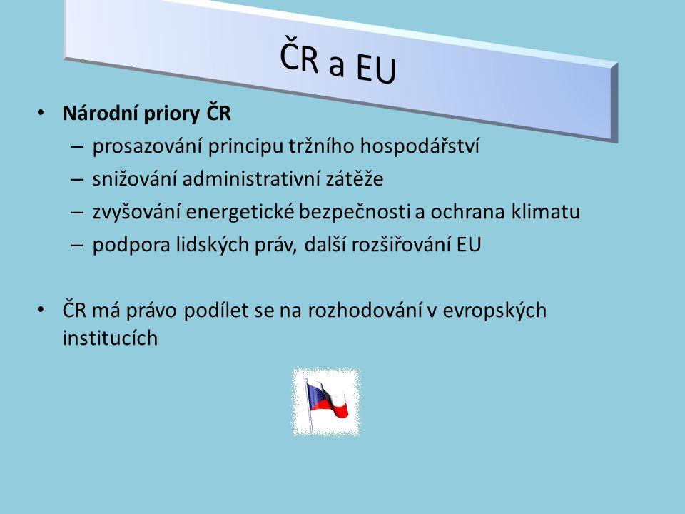 ČR a EU Národní priory ČR prosazování principu tržního hospodářství