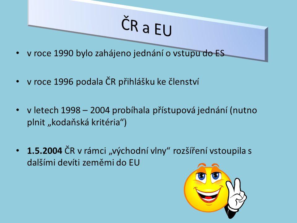 ČR a EU v roce 1990 bylo zahájeno jednání o vstupu do ES