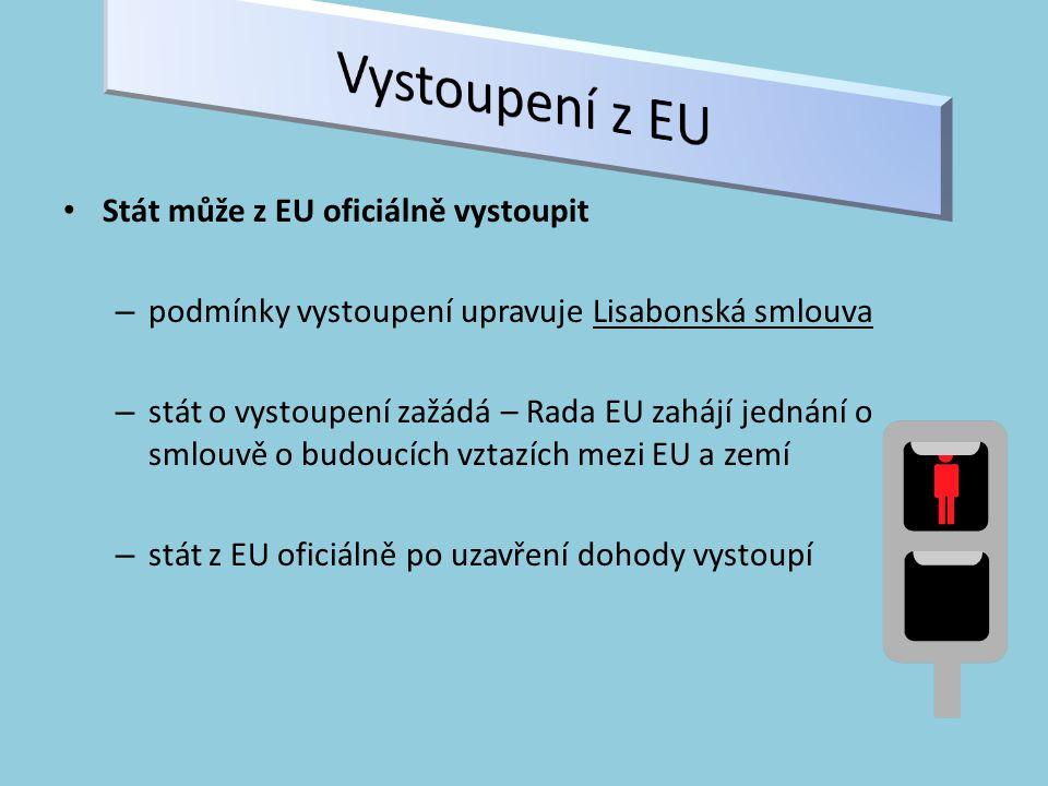 Vystoupení z EU Stát může z EU oficiálně vystoupit