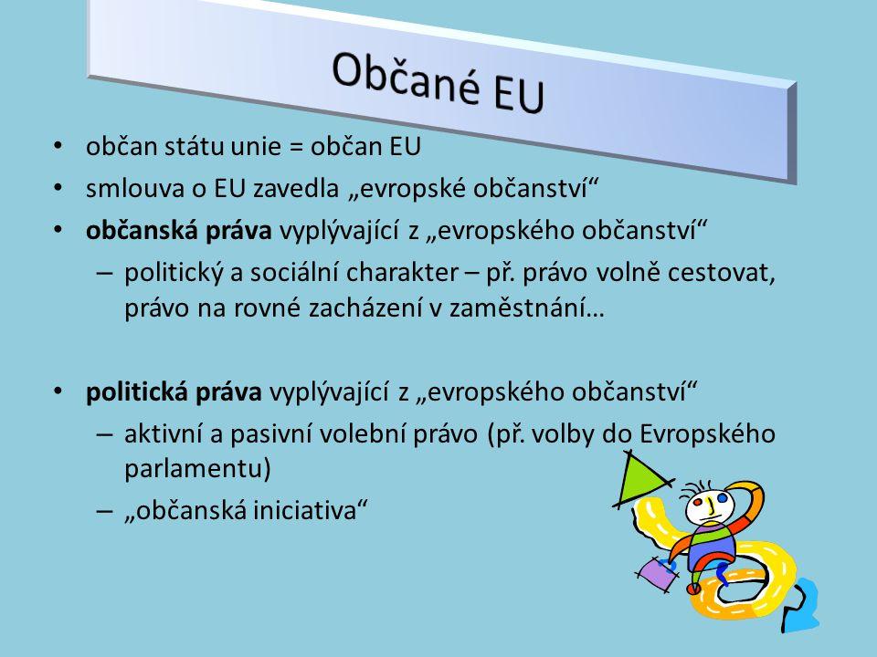 Občané EU občan státu unie = občan EU