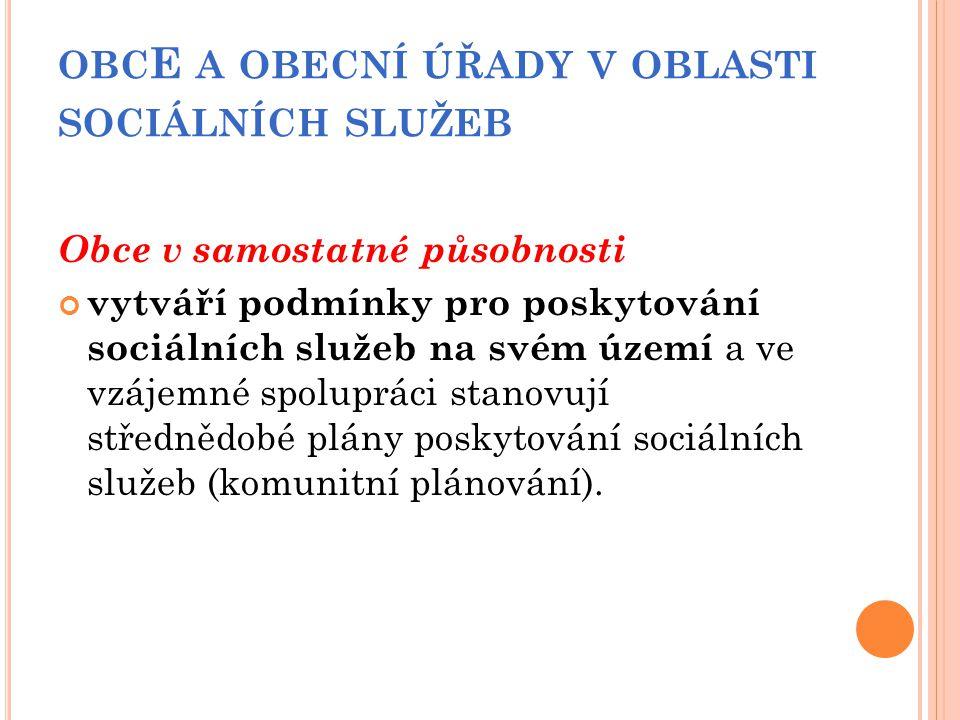 obcE a obecní úřady v oblasti sociálních služeb