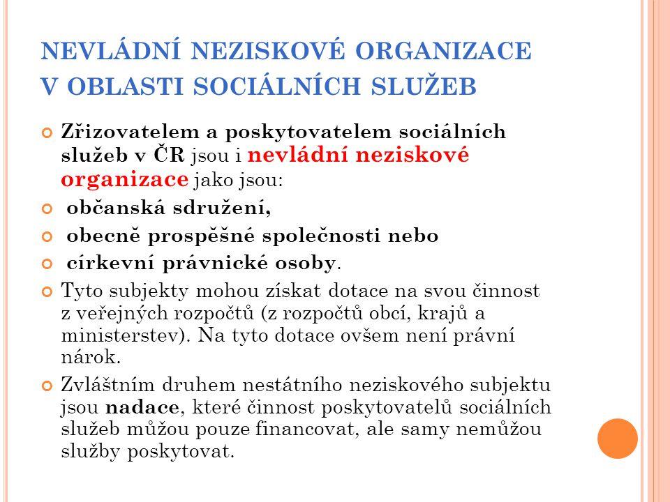 nevládní neziskové organizace v oblasti sociálních služeb
