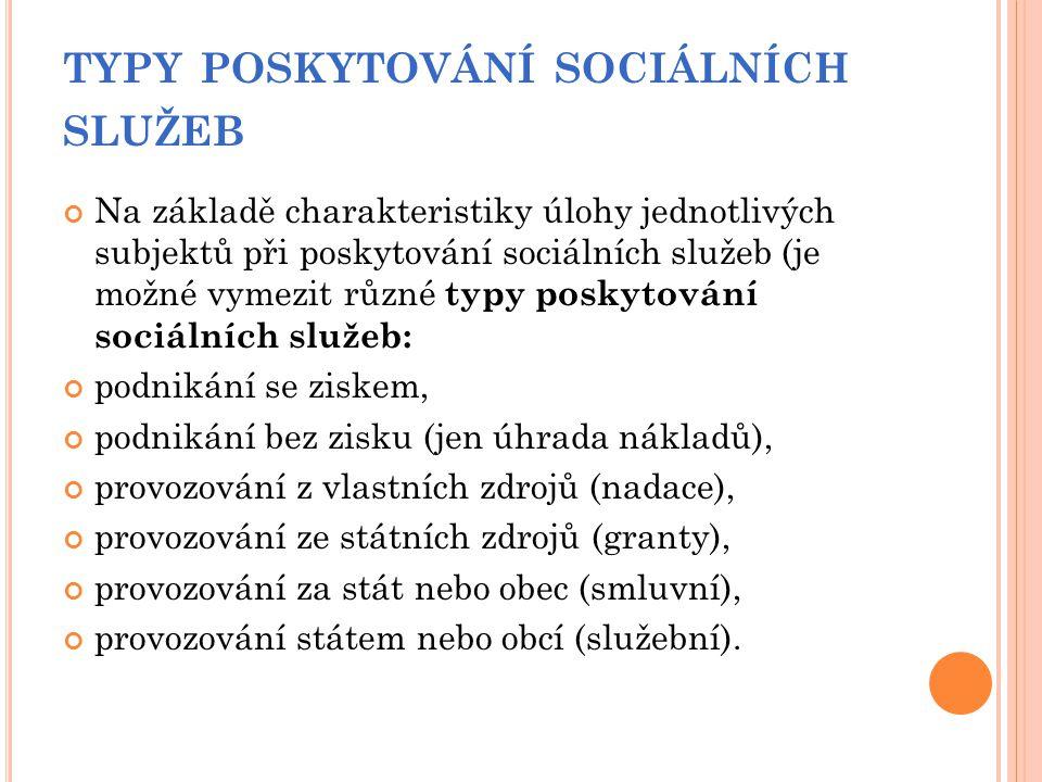 typy poskytování sociálních služeb