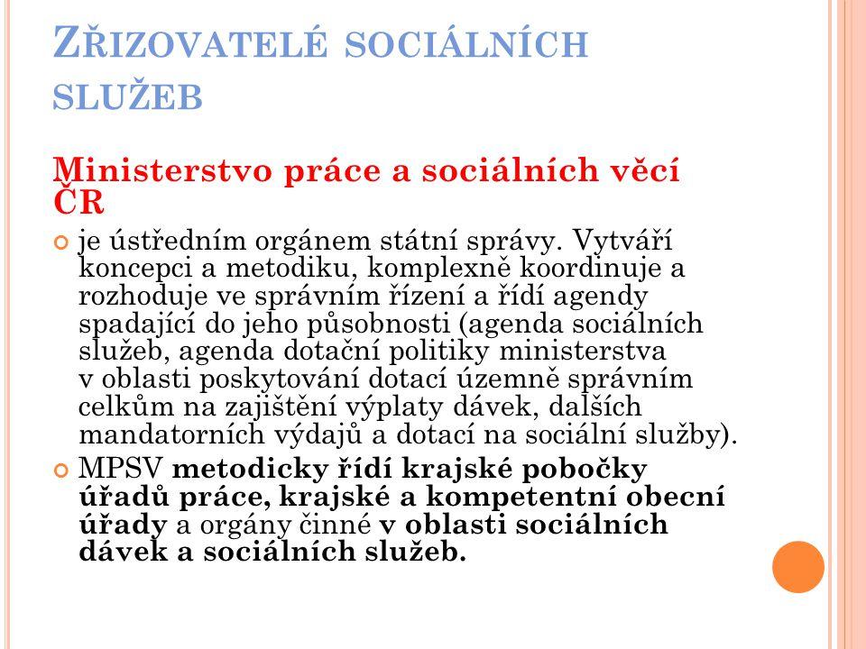 Zřizovatelé sociálních služeb