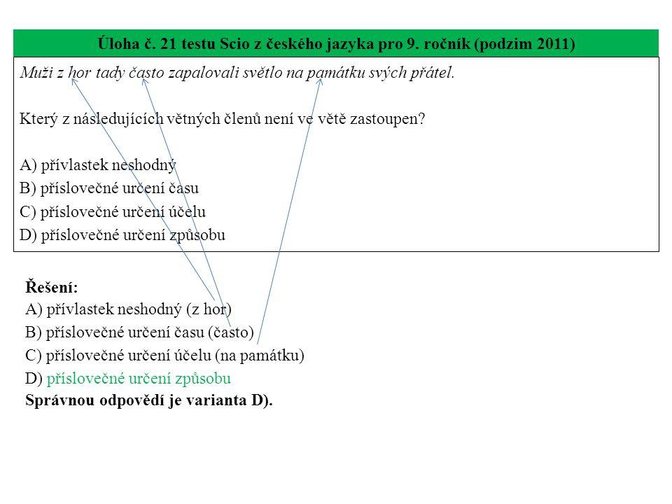 Úloha č. 21 testu Scio z českého jazyka pro 9. ročník (podzim 2011)