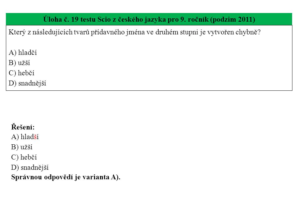 Úloha č. 19 testu Scio z českého jazyka pro 9. ročník (podzim 2011)