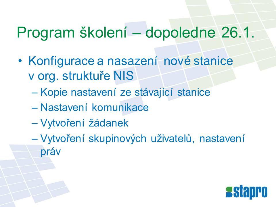 Program školení – dopoledne 26.1.