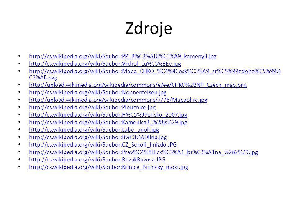 Zdroje http://cs.wikipedia.org/wiki/Soubor:PP_B%C3%ADl%C3%A9_kameny3.jpg. http://cs.wikipedia.org/wiki/Soubor:Vrchol_Lu%C5%BEe.jpg.