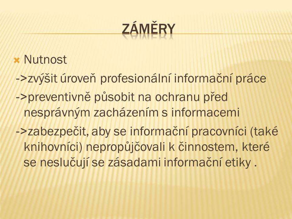 Záměry Nutnost ->zvýšit úroveň profesionální informační práce