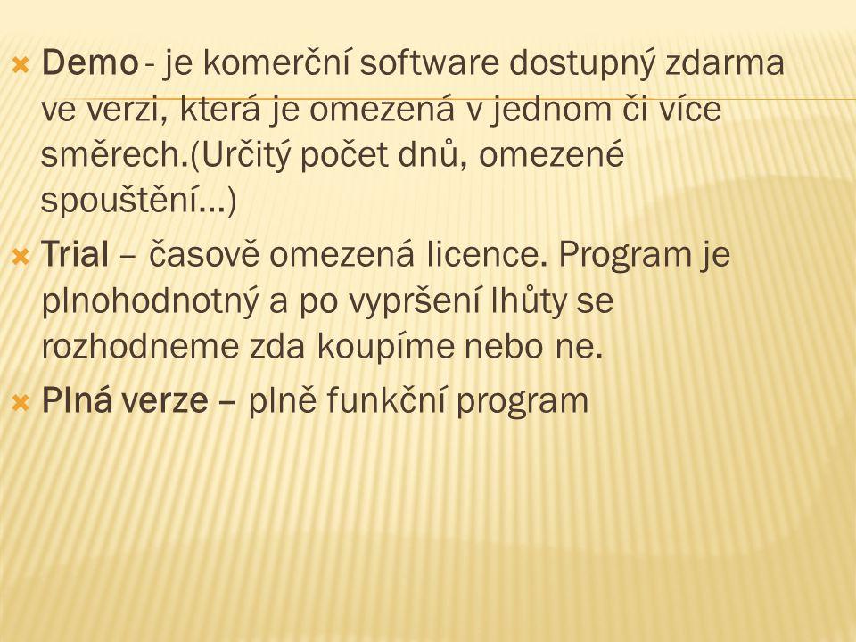 Demo - je komerční software dostupný zdarma ve verzi, která je omezená v jednom či více směrech.(Určitý počet dnů, omezené spouštění…)