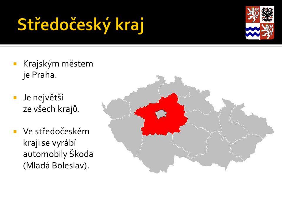 Středočeský kraj Krajským městem je Praha. Je největší ze všech krajů.