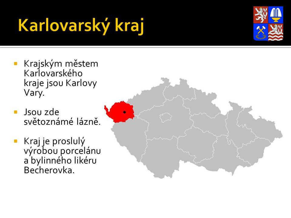 Karlovarský kraj Krajským městem Karlovarského kraje jsou Karlovy Vary. Jsou zde světoznámé lázně.