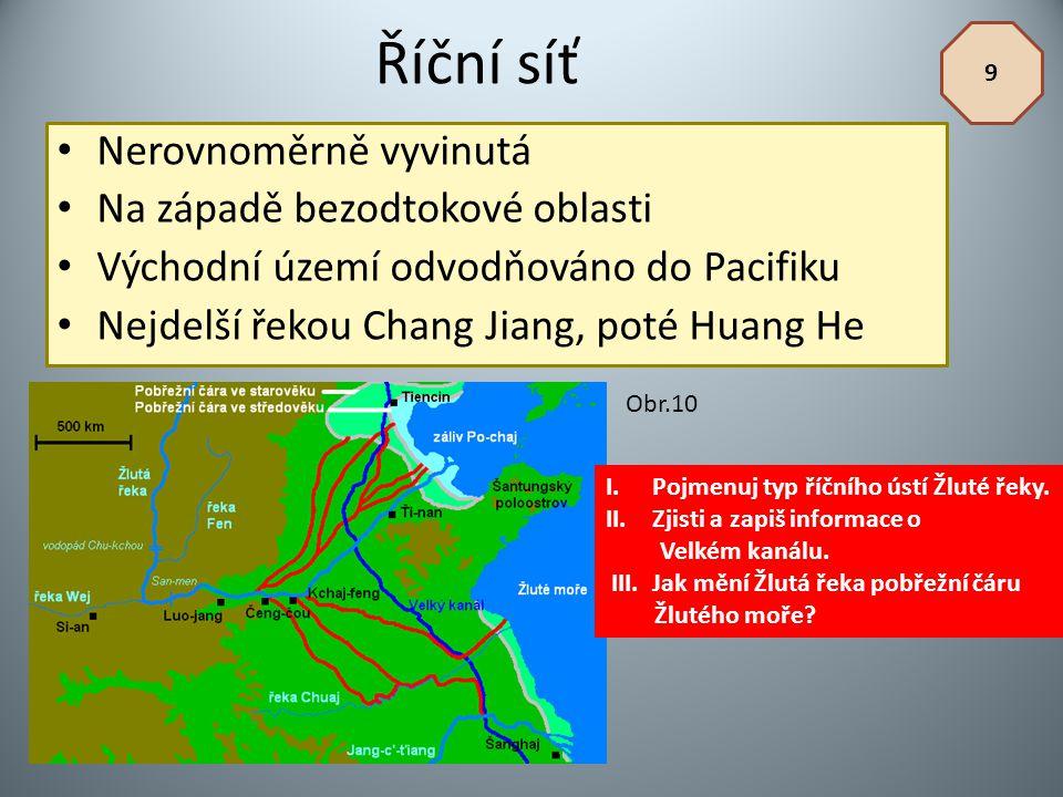 Říční síť Nerovnoměrně vyvinutá Na západě bezodtokové oblasti