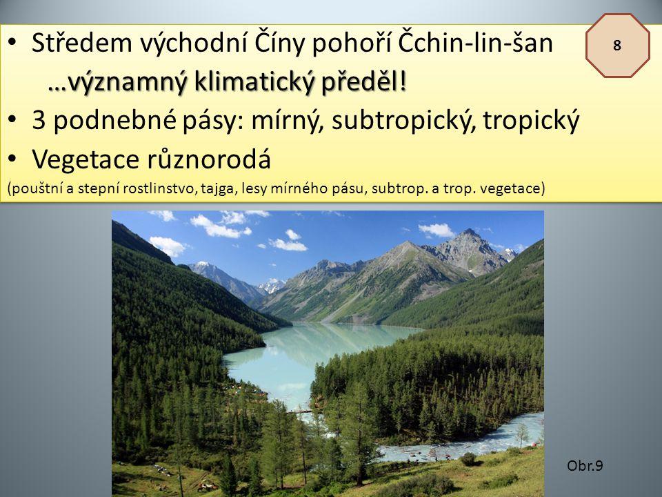 Středem východní Číny pohoří Čchin-lin-šan