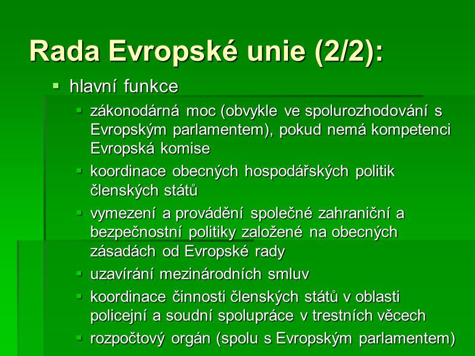Rada Evropské unie (2/2):
