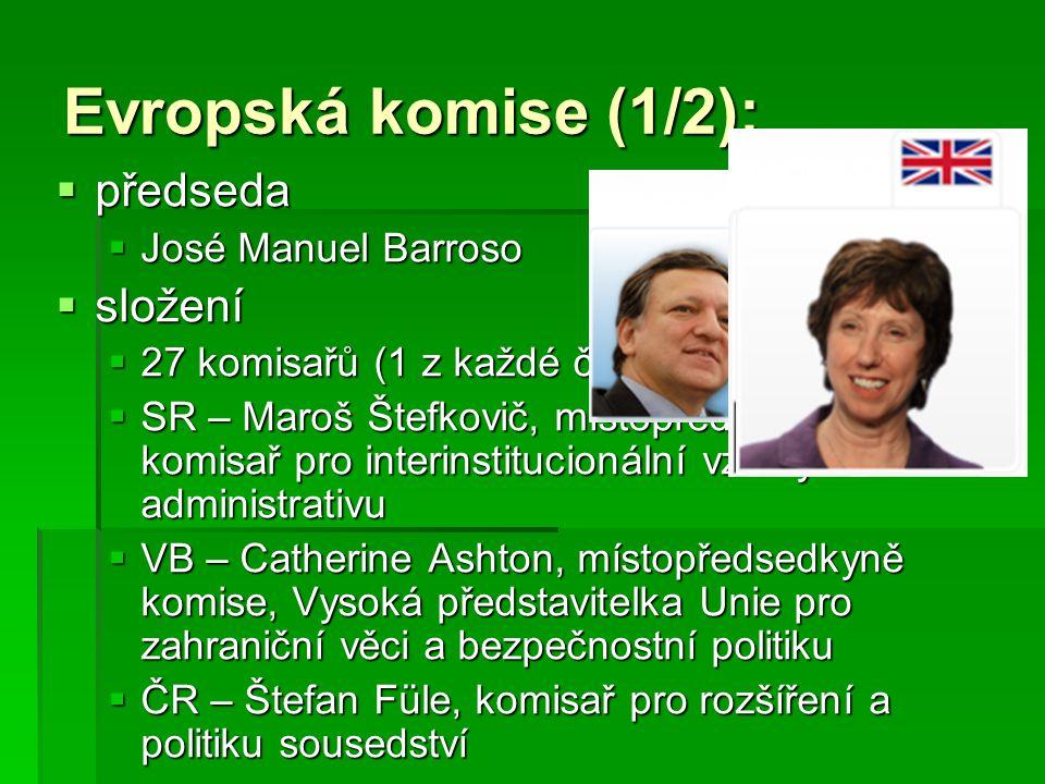 Evropská komise (1/2): předseda složení José Manuel Barroso