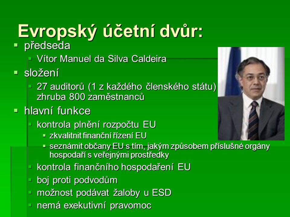Evropský účetní dvůr: předseda složení hlavní funkce
