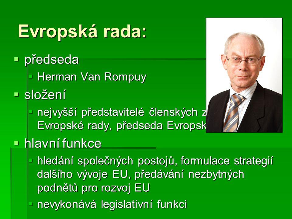 Evropská rada: předseda složení hlavní funkce Herman Van Rompuy