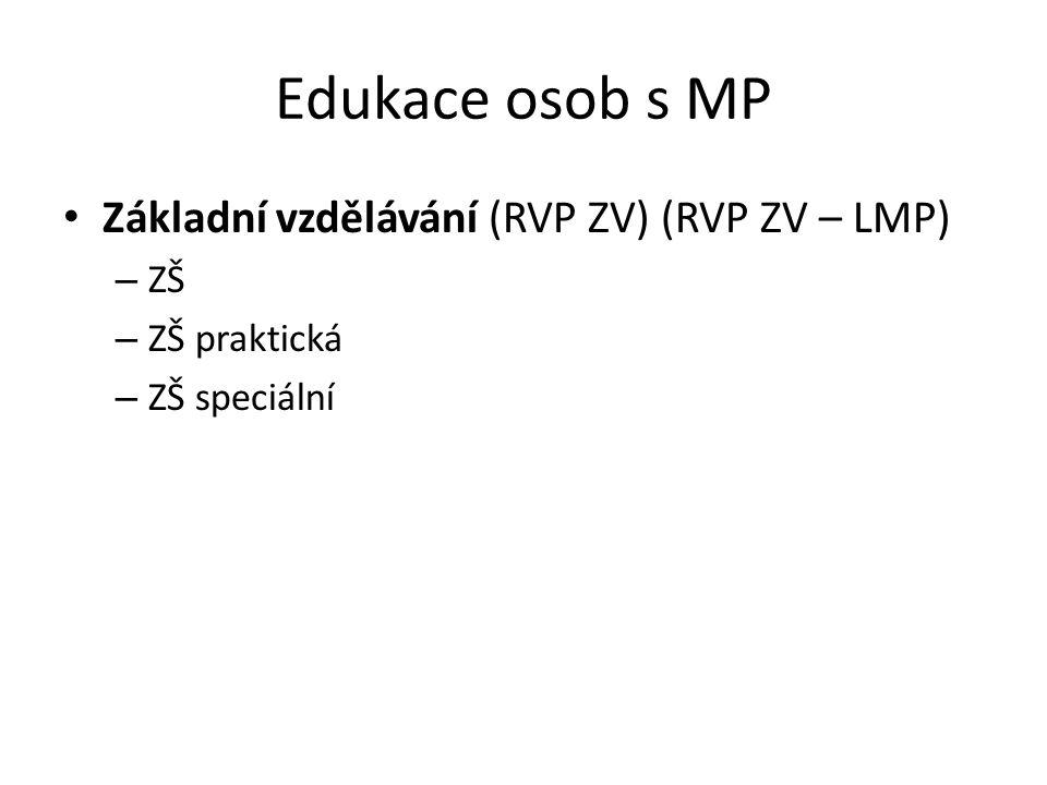 Edukace osob s MP Základní vzdělávání (RVP ZV) (RVP ZV – LMP) ZŠ