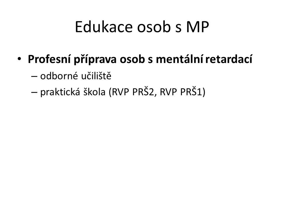 Edukace osob s MP Profesní příprava osob s mentální retardací