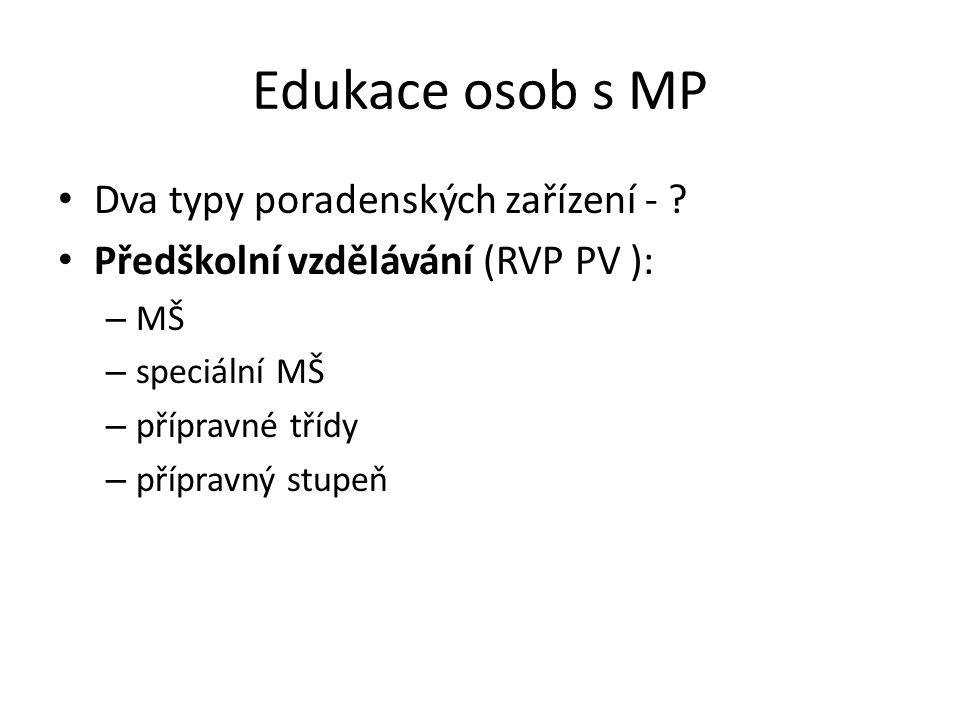 Edukace osob s MP Dva typy poradenských zařízení -