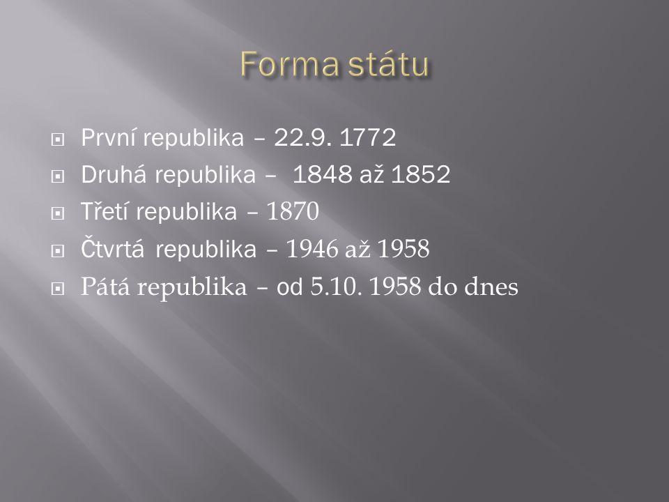 Forma státu První republika – 22.9. 1772