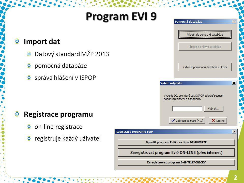 Program EVI 9 Import dat Registrace programu Datový standard MŽP 2013