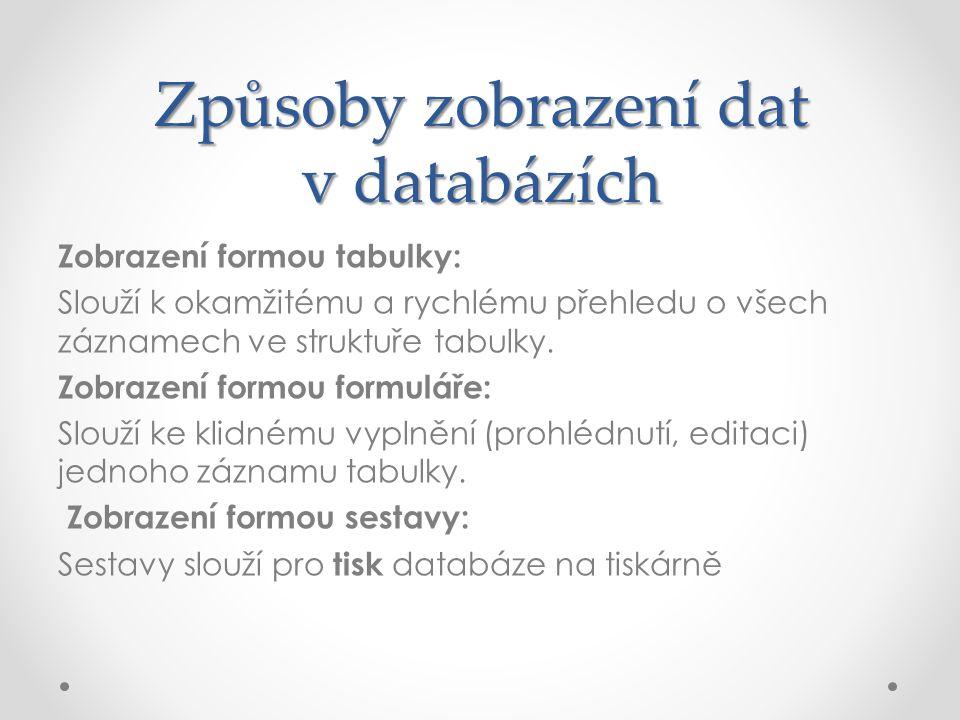 Způsoby zobrazení dat v databázích