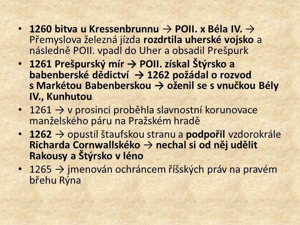 1260 bitva u Kressenbrunnu → POII. x Béla IV