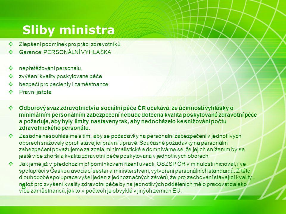 Sliby ministra Zlepšení podmínek pro práci zdravotníků