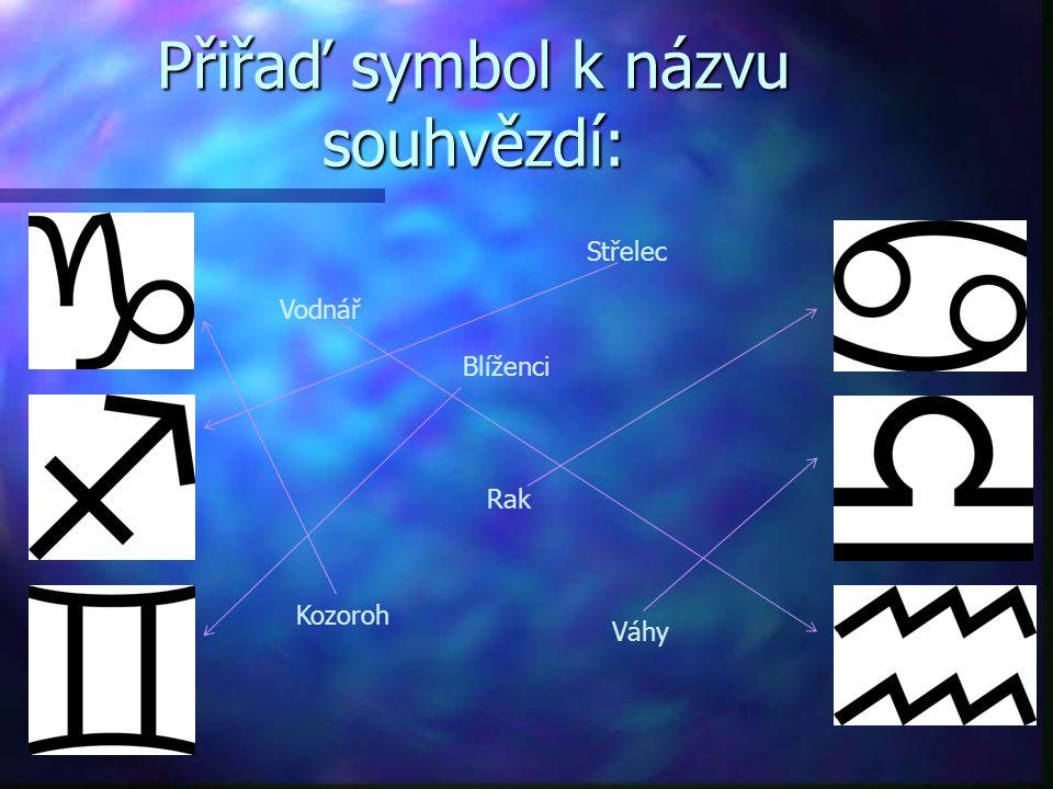 Přiřaď symbol k názvu souhvězdí: