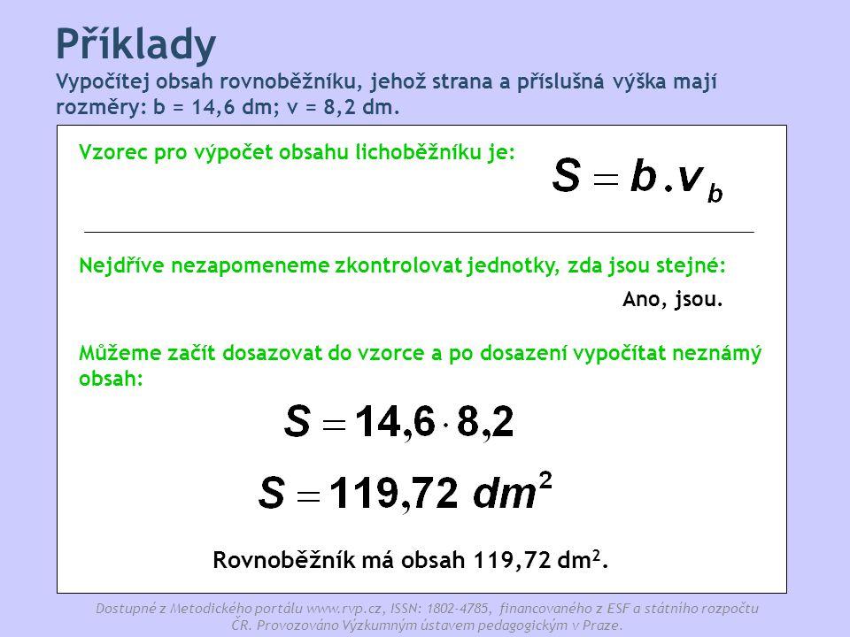 Rovnoběžník má obsah 119,72 dm2.