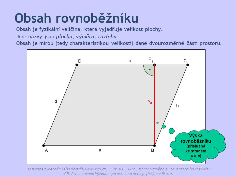 Výška rovnoběžníku (příslušná ke stranám a a c)