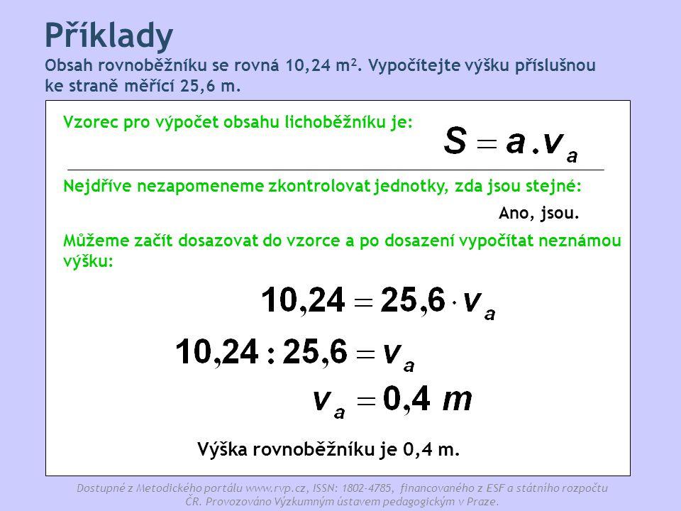 Výška rovnoběžníku je 0,4 m.