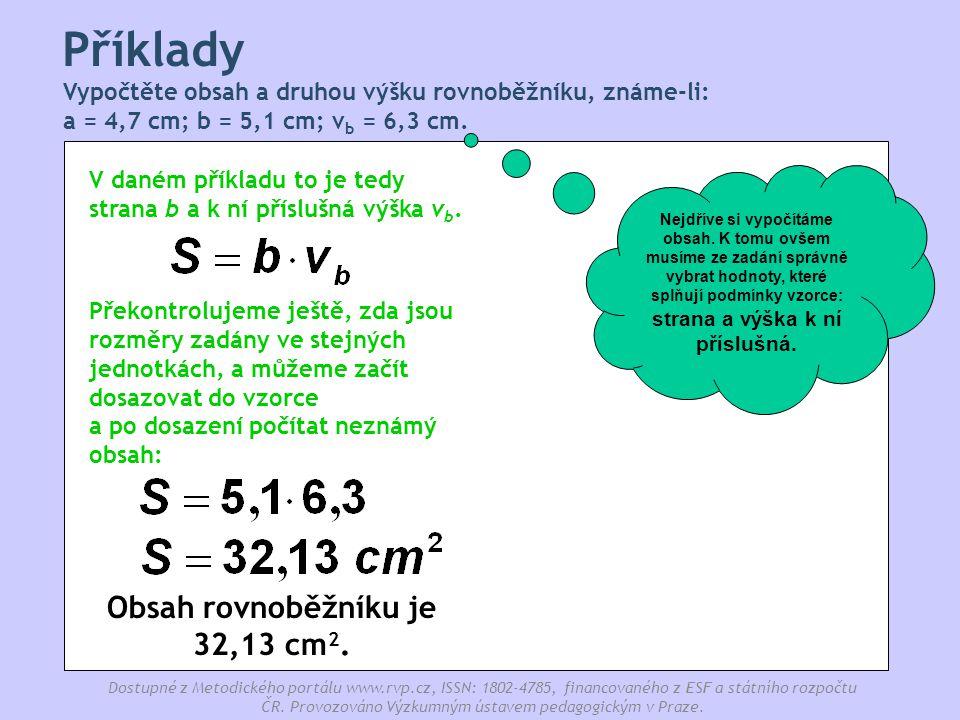 Obsah rovnoběžníku je 32,13 cm2.
