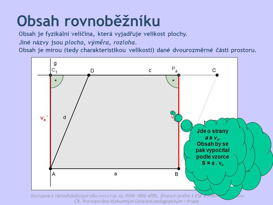 Obsah rovnoběžníku Obsah je fyzikální veličina, která vyjadřuje velikost plochy. Jiné názvy jsou plocha, výměra, rozloha.