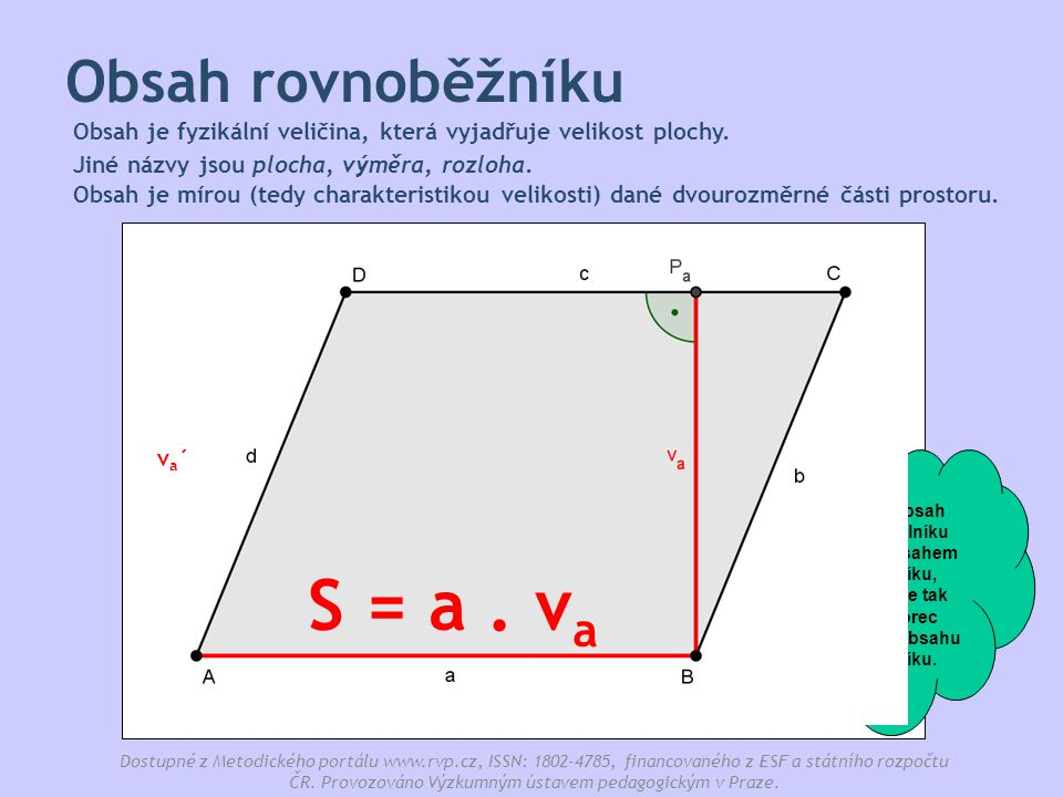 S = a . va Obsah rovnoběžníku