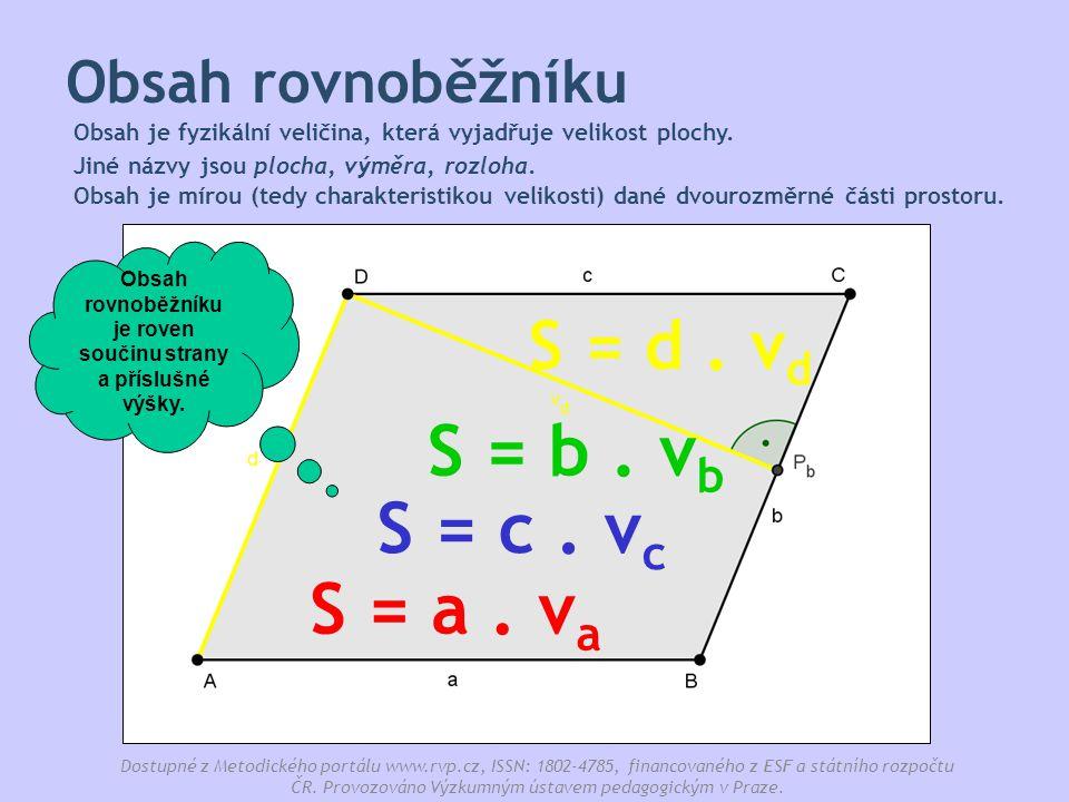 Obsah rovnoběžníku je roven součinu strany a příslušné výšky.