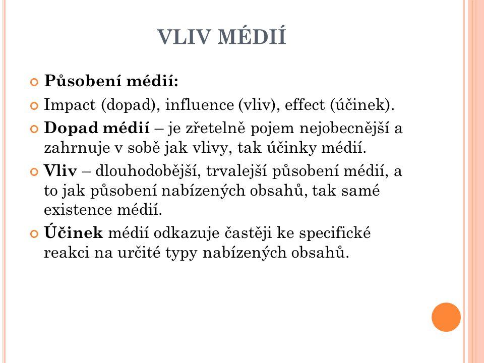 VLIV MÉDIÍ Působení médií: