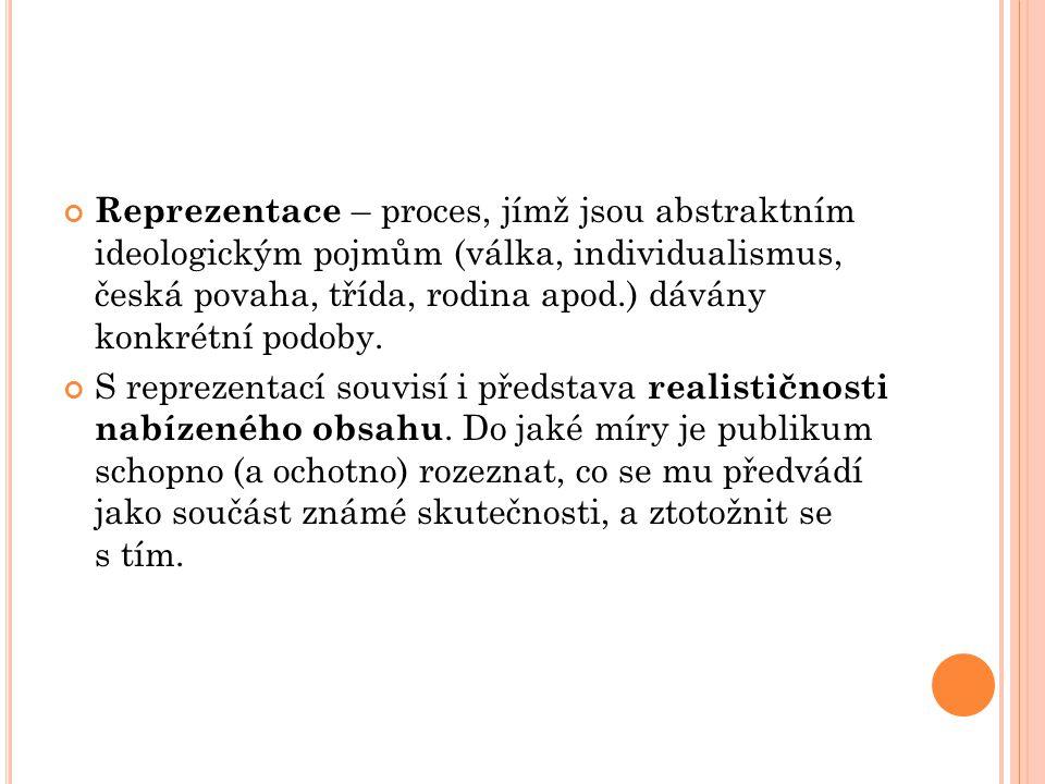 Reprezentace – proces, jímž jsou abstraktním ideologickým pojmům (válka, individualismus, česká povaha, třída, rodina apod.) dávány konkrétní podoby.